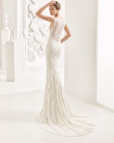 Guipure lace column dress with crepe underlay, sweetheart neckline and low back, in ivory.