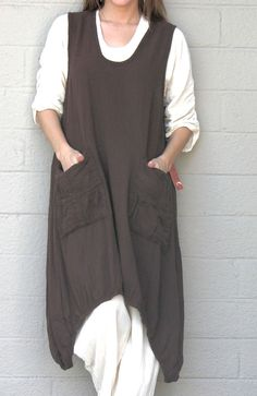 It has pockets...I love pockets...I could garden in this...put it over a long sleeve shirt in the winter.....OH MY GAUZE Cotton Lagenlook BRAD Long VEST Curve Hem Tunic  M/L/XL/1X  TOBACCO