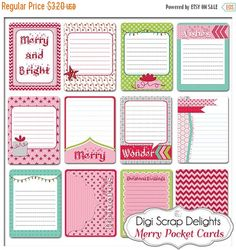 50% OFF TODAY Project Life Inspired Journal Cards, Merry Christmas Pocket Cards, Printable or PNG, Pink, Green, Digital Scrapbooking, Instan  #scrapbooking #winter #christmas #digiscrapdelights #happyholidays #crafts