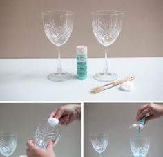 painting wine glass with Martha Stewart glass paints...