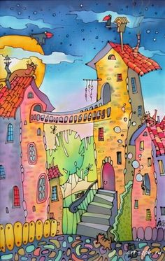 Pen & watercolor -- love the colorful and free imagination of this.  Want to get my kids to think and dream and draw like this next year.  Love it!