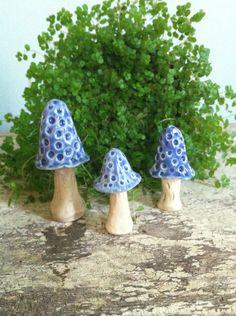 Blue mushrooms/little pottery toadstools. $21.00, via Etsy.