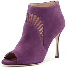 Sergio Rossi Suede Peep-Toe Bootie ($437) ❤ liked on Polyvore featuring shoes, boots, ankle booties, booties, heels, purple, high heel boots, cutout booties, peep toe bootie and high heel ankle booties