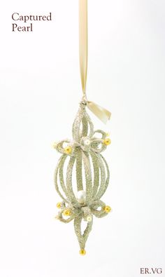Captured Pearl Hanging Christmas Ornament - Luxury Holiday by ER.VG ELIOT RAFFIT.VINTAGE GLAMOUR Vintage Silver Glass Glitter Hand-Made in the USA