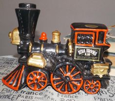 Vintage (c.1960) Ezra Brooks figural locomotive-shaped Kentucky Bourbon bottle   decanter (empty). Made in USA by Genuine Heritage China.