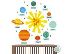 Modern solar system wall decor from @urbantickle - perfect for the kids room!
