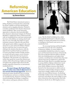 Reforming American Education in Summer 2013 Issue of Beyond Good Ideas Magazine http://sisgigroup.org/2013/07/bgi-summer-2013/ #youth  #education