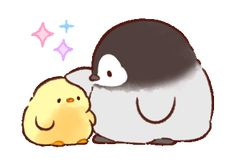 LINE Official Stickers - Soft and Cute Chick 3 (Animated) Example with GIF Animation Cute Animal Drawings Kawaii, Cute Kawaii Animals, Kawaii Art, Cute Drawings, Cute Baby Animals, Pinguin Illustration, Cute Illustration, Penguin Drawing, Penguin Art