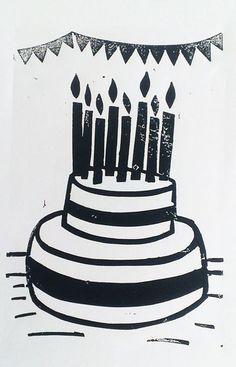 Print 52 week 19 - birthday cake #linoprint #printmaking