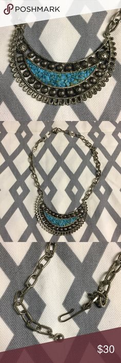 Vintage Turquoise and Cast Aluminum Bib  Necklace Vintage Cast Aluminum Bib Necklace with Turquoise Chips. Jewelry Necklaces