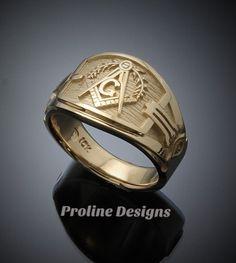 Masonic Blue Lodge Ring Cigar Band Style in Gold ~ Handmade ~ style - ProLine Designs Mens Gold Rings, Rings For Men, Freemason Ring, Masonic Symbols, Cigar Band, Engraved Rings, Love Ring, Beautiful Gift Boxes, Logs