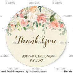 peach floral thank you sticker elegant modern