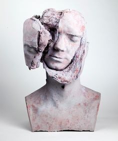 tim silver bakes bread in busts for sculptural oneirophrenia series // for this body of work, the artist has filled busts with raw bread dough which, as it rises, breaks through the figures' plaster skin. from these results, silver then creates unique casts of each bust rendered in concrete, marble dust and pigment. the use of an organic medium that degrades over time confronts the traditional visions of the classical bust and creates random mutations of matter instead.