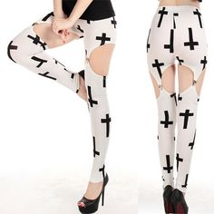 Fashion-Women-Slim-Tight-Garter-Fashion-Cross-Black-White-Leggings-Printed-Pants
