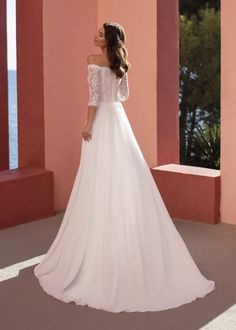 Trouwjurk White One Gentian Off Shoulder Wedding Dress, Chiffon Gown, White Wedding Dresses, Shoulder Sleeve, Corset, Bodice, Wedding Day, Gowns, Sleeves