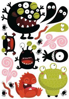 Stickers enfants monstres rigolos - Autocollants muraux par Océchou - MONSTROCHOUX