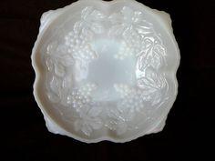Anchor Hocking Grape Pattern Milk Glass Bowl by JulianosCorner - SOLD