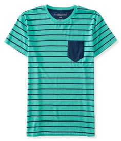 "For a stylish look that'll make some waves, rock our Maritime Stripe Pocket Tee with trendy woven joggers and boat shoes! This classic shirt pairs up with all your fave bottoms thanks to its versatile pattern and timeless solid chest pocket.<br><br>Authentic fit. Approx. length (M): 28.5""<br>Style: 7281. Imported.<br><br>55% cotton, 45% polyester.<br>Machine wash/dry."