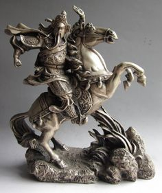 Chinese Silver Warrior God Guan Gong Yu On Horse