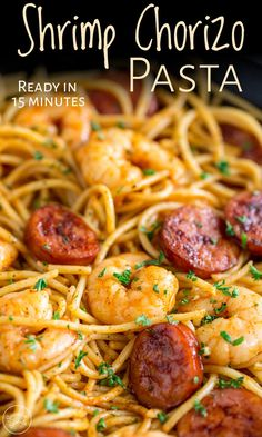 Looking for a quick pasta recipe, that will feed the whole family? Then this Shrimp Chorizo pasta is for you. The chorizo is fried off whilst the pasta cooks, and the wonderful paprika spiked oil is used to cook the shrimp and garlic, creating a smoky, sweet spicy oil to dress the cooked pasta. Plus this recipe comes together in just 10 minutes, making it perfect for when dinner needs to be on the table in a hurry. Serve a side of salad or bread and maybe a glass of wine. Dinner done. Quick Pasta Recipes, Easy Pasta Dishes, Chicken Pasta Recipes, Shrimp Dishes, Shrimp Pasta, Shrimp Recipes, Seafood Pasta, Wheat Pasta Recipes, Mexican Food Recipes