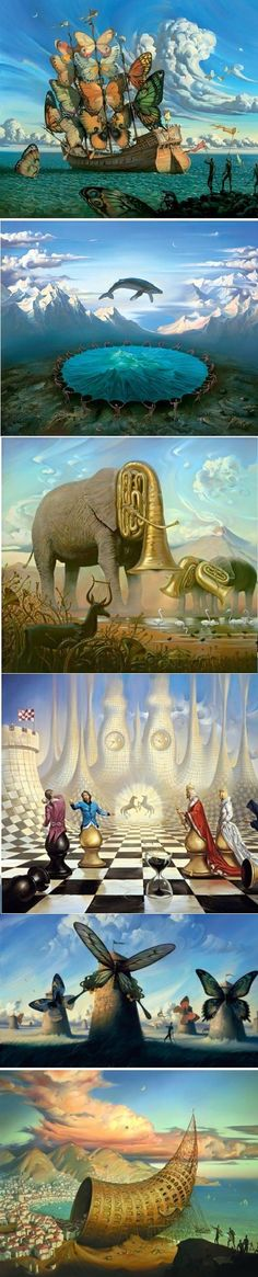 Surrealistic painter: Vladimir Kush. I think I am gradually becoming a fan of surrealist paintings (now that I can actually identify paintings that are of the surrealist brand and NOT look foolishly ignorant about art)