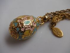 JOAN RIVERS Egg Necklace Gold-Toned Enamel Pastel Green Pink Yellow