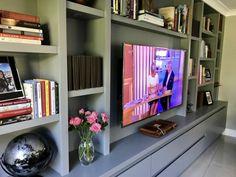Media Furniture - The BookCase Co Living Room Wall Units, Living Room Cabinets, Living Room Storage, Home Living Room, Living Room Designs, Living Area, Custom Bookshelves, Custom Shelving, Bookshelves Built In