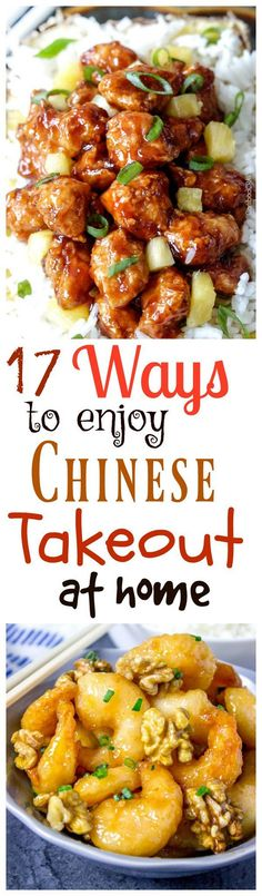 17 Ways to ENJOY CHINESE Takeout at Home. Homemade is always better! Asian Recipes, Healthy Recipes, Ethnic Recipes, Chinese Recipes, Asian Foods, Mexican Recipes, Drink Recipes, Yummy Recipes, Dinner Recipes