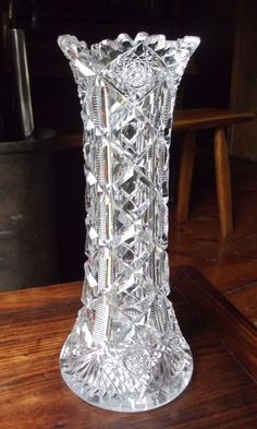 "Hawkes ""Navarre"" American Brilliant Cut Glass vase signed .Pattern . 9 3/4"" h #Hawkes"