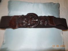 Chicos Ladies Womens Brown Stretch Belt Woven Tabs Size s M | eBay
