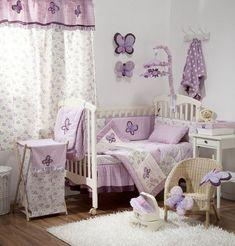babyzimmer dekoration hölzernes bett lampe blumen dekoration ... - Kinderzimmer Weis Lila