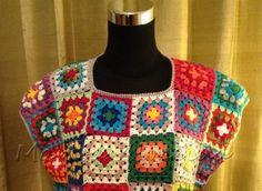 Blusa Crochet Colorida Modelo 2 - Marisa Feito a Mão