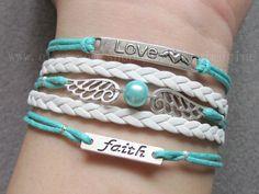 love bracelet,heart bracelet,heart with angle wings bracelet,harry potter bracelet,faith bracelet,mint bracelet,gifts to friend-B720 on Etsy, $5.58 AUD