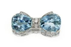 Diamond and Aquamarine bow brooch, designed as a bow with fancy-shaped aquamarine terminals, decorated with single-cut and baguette diamonds, circa 1935 Bow Jewelry, High Jewelry, Jewelry Accessories, Jewelry Design, Jewelry Ideas, Jewellery, Diamond Bows, Diamond Brooch, Aquamarine Jewelry