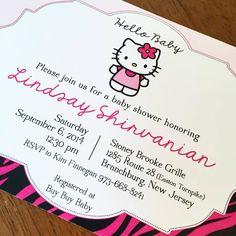 Zebra Hello Baby Hello Kitty Baby Shower Invitations