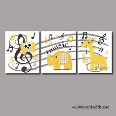 Music Note Owl Musical Nursery Artwork Yellow by 3000yardsofthread