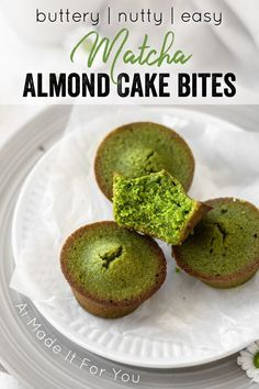 These bite-sized matcha cakes are little bites of matcha heaven! They're super easy to make but packed with flavor! Browned butter, almond flour, matcha powder, and honey make these matcha cake bites so delicious! Green Tea Dessert, Matcha Dessert, Matcha Cake, Layer Cake Recipes, Frosting Recipes, Sweet Desserts, Healthy Desserts, Healthy Recipes, Dairy Free Recipes