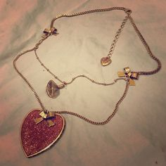 Betsey Johnson necklace. Heart and plastic diamond necklace. Betsey Johnson. 100% authentic. Sold as is. No damage anywhere. NEVER WORN  Betsey Johnson Jewelry Necklaces