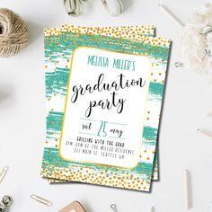 64 best graduation images on pinterest graduation cards sky glitter graduation party invitation graduation card grad party graduation invitation turquoise stopboris Choice Image