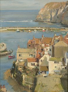 David Curtis - View from the Nab - Staithes Urban Landscape, Landscape Art, Landscape Paintings, Oil Paintings, Seaside Village, Seaside Towns, David Curtis, Irish Painters, Boat Art