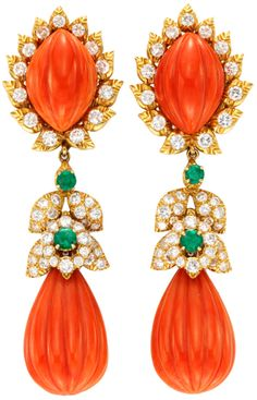 A Pair of Carved Coral, Emerald and Diamond Ear Pendants, designed as a carved coral drop with a circular-cut emerald and diamond surmount by David Webb.