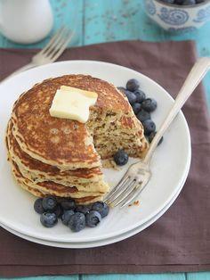 Meyer Lemon Quinoa Pancakes. Gluten free flour, coconut flour, maple syrup, vanilla, lemon, coconut oil, oat flour. Protein