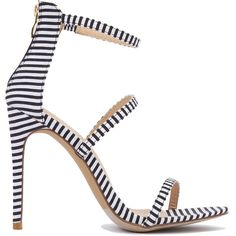 Triple Strap Stiletto Sandals - Striped ($37) ❤ liked on Polyvore featuring shoes, sandals, striped, strap high heel sandals, high heel shoes, open toe shoes, heels stilettos and strappy sandals