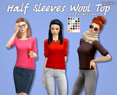 Half Sleeves Wool Top Recolors• Custom icon thumbnail • Standalone • 27 Lisa's colors by @simsrocuted • Mesh by @mysimlifefou Mesh is not included! Please download it HERE.Choose the download...