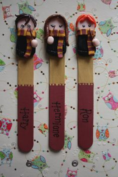 Handmade chibi Harry Potter bookmarks - Harry, Ron and Hermione (Ron). ₪60,20, via Etsy.