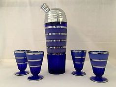 Paden City Glass Cobalt Glades Cocktail Shaker Set # 215 in Collectibles, Barware, Shakers | eBay