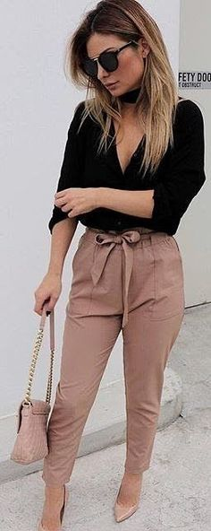 #fall #work #outfits | Black Shirt + Tan Work Up Pants