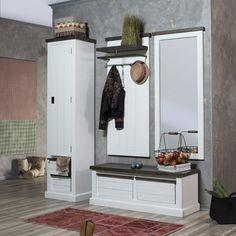 Serie Loft im #Landhausstil aus massiver #Akazie. #Spiegel #Garderobenschrank #Sitzbank #Wandpaneel Findet ihr unter www.moebel-ideal.de