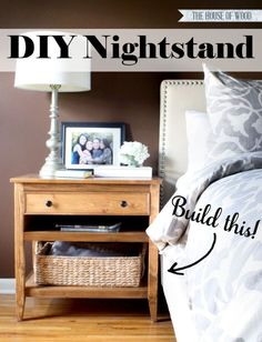 Build your own DIY nightstand bedside table. Via Jen Woodhouse
