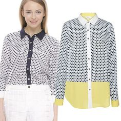 2014 New  Woman Shirt Spring Autumn Winter European and American style star print patchwork Long sleeve Shirt for Lady xh188 $14.51
